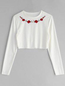 Blanco Bordada Acanalada Xl Floral Camiseta wBt5dq0t