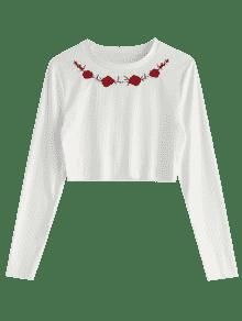 Floral Bordada Blanco Xl Acanalada Camiseta nX4qUxq