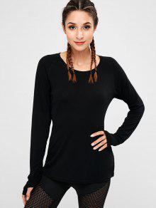 Armhole Mesh Panel T-shirt - أسود S