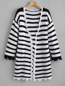 ZAFUL Jagged Edge Striped Open Front Cardigan - متعدد