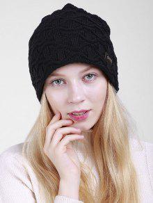 غير النظامية موجة نمط محبوك ترهل قبعة صغيرة - أسود