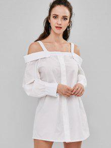 زر حتى الباردة الكتف البسيطة اللباس - أبيض