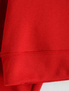 Capucha Rojo Con Recortada Lisa Sudadera Uf0qB