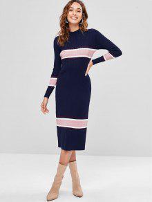 فستان قصير من ريب محبوك - ازرق غامق