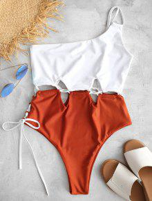 ZAFUL الدانتيل متابعة واحدة الكتف ملابس السباحة - أبيض S