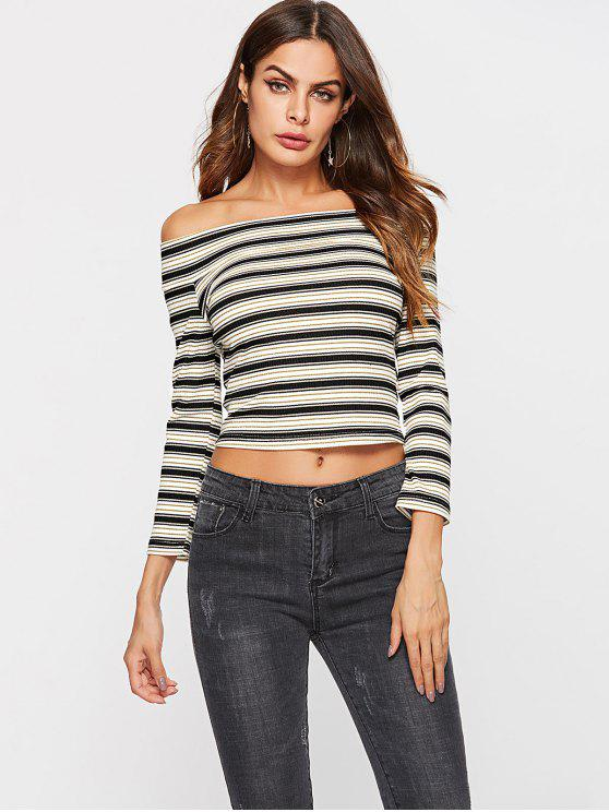 women ZAFUL Ribbed Striped Off The Shoulder Top - MULTI L