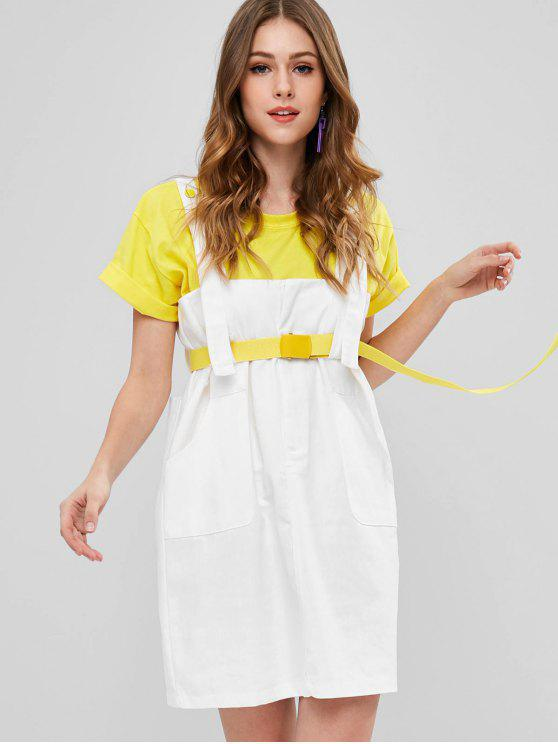 ladies Belted Snap Button Pinafore Dress - WHITE ONE SIZE