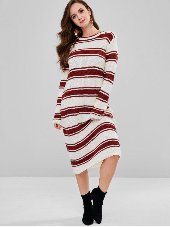 Vestido de suéter a rayas Midi Shift - Multicolor Única Talla