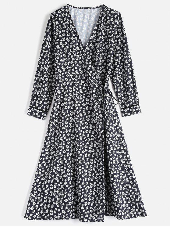 كم طويل زهرة التفاف اللباس - أسود L
