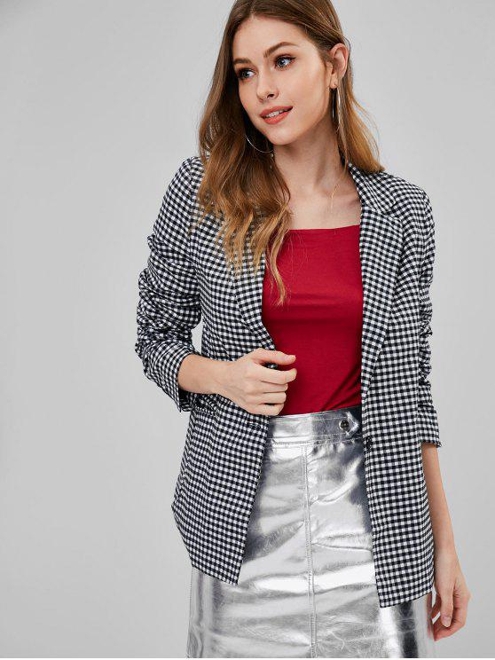 ladies Front Pocket Gingham One Button Blazer - MULTI S