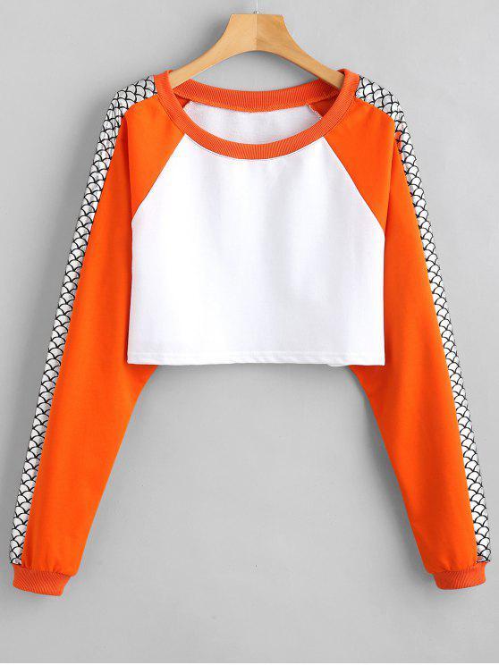 Zwei Tonumfang abgeschnitten Sweatshirt - Weiß Eine Größe