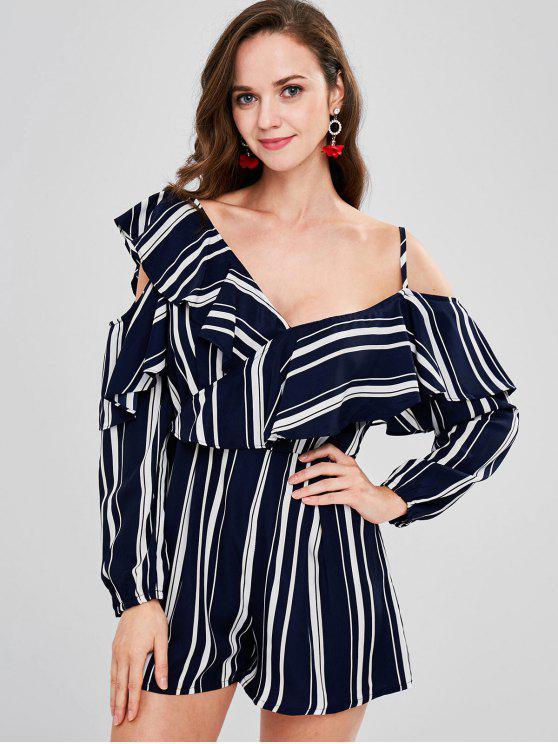 fancy Ruffle Striped Long Sleeve Romper - DEEP BLUE S