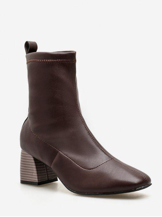 chic Chunky Heel Slip-on Short Boots - BROWN EU 36