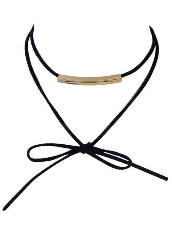 Layered Streifen Bowknot Choker Halskette - Schwarz