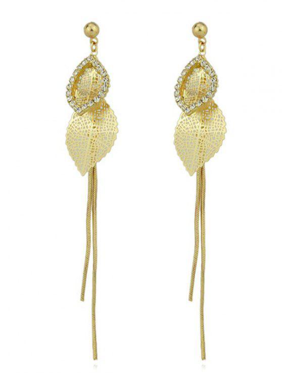 Rhinestone Leaf Design Dangle Earrings Gold