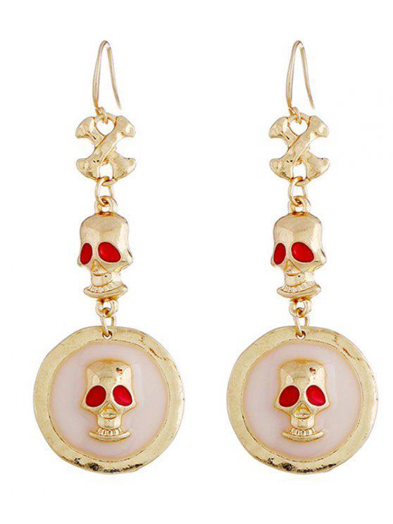 Boucles d'oreilles de conception de crâne d'Halloween - Or