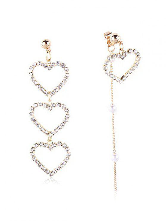 new Statement Rhinestone Inlaid Heart Asymmetric Earrings - GOLD