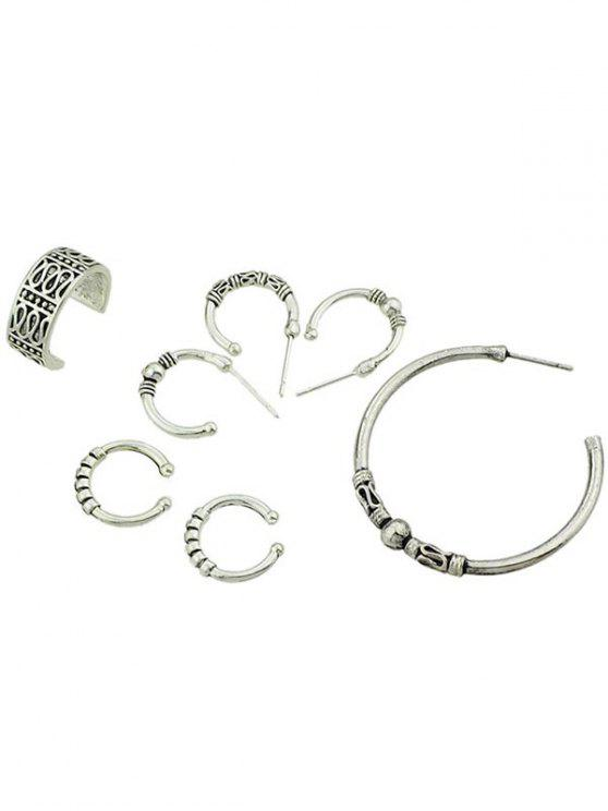 Simple Style Finger Cuff Rings Set - Plata