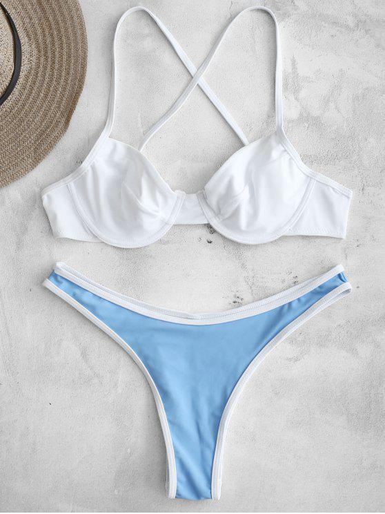 shops ZAFUL Contrast Trim Underwire Bikini Set - WHITE M