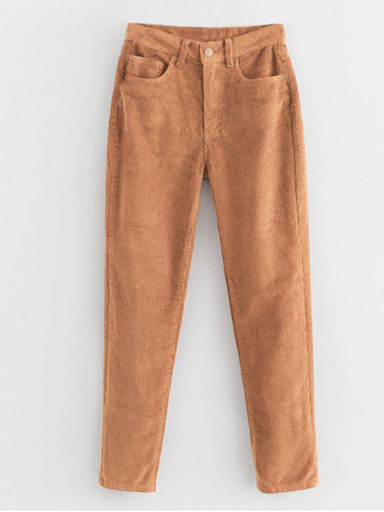 women's Zipper Pocket Corduroy Pants - CARAMEL M