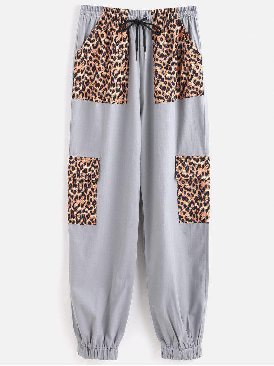 online Drawstring Leopard Panel Jogger Pants - BLUE GRAY M