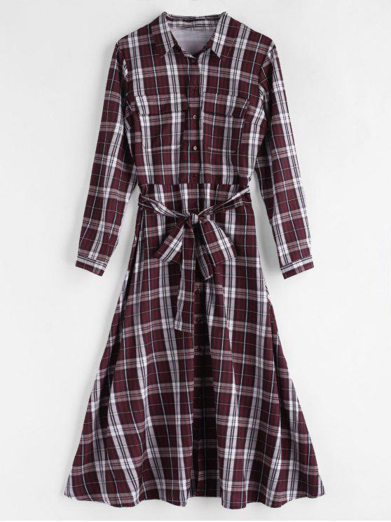 ladies Belted Tartan Shirt Dress - MULTI S