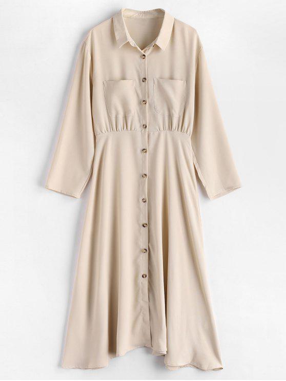 hot Button Up Pocket A Line Shirt Dress - BEIGE S