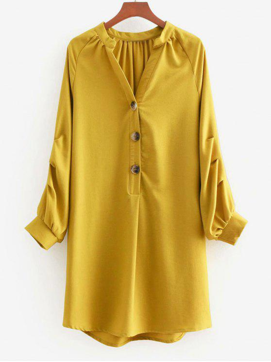 Vestido de manga larga con cuello en V - Marrón Dorado M