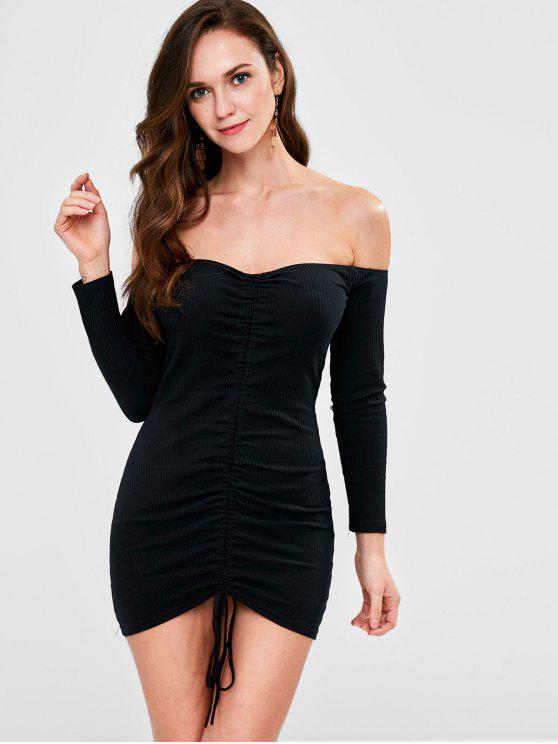 fashion Ribbed Cinched Off The Shoulder Dress - BLACK S