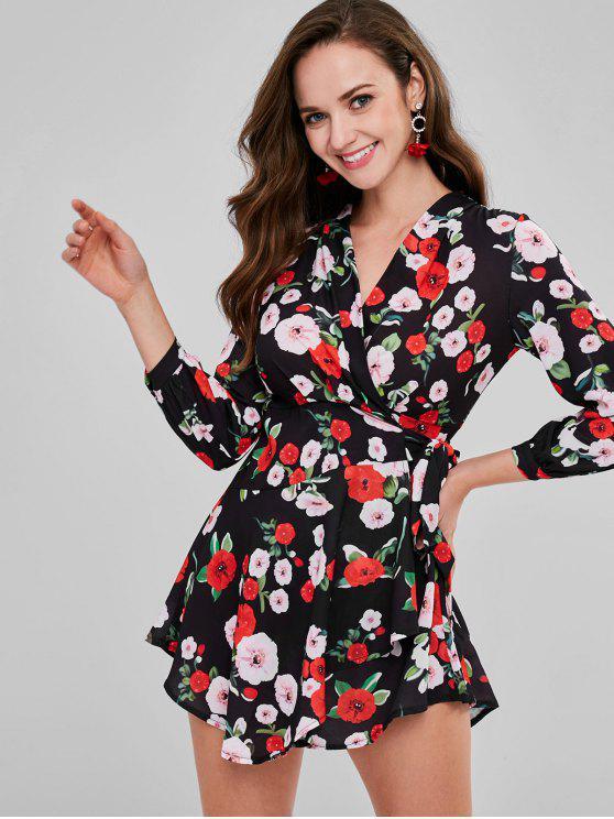 best Allover Floral Mini Wrap Dress - BLACK M
