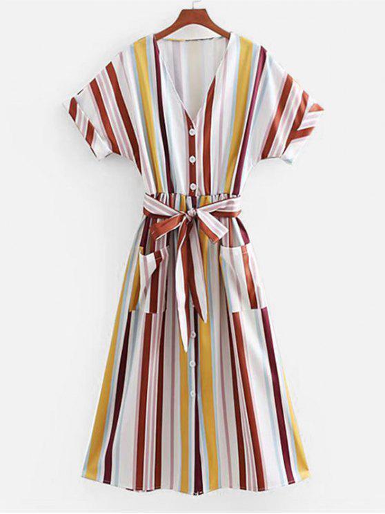 fancy Striped Batwing Sleeve Button Up Dress - MULTI M