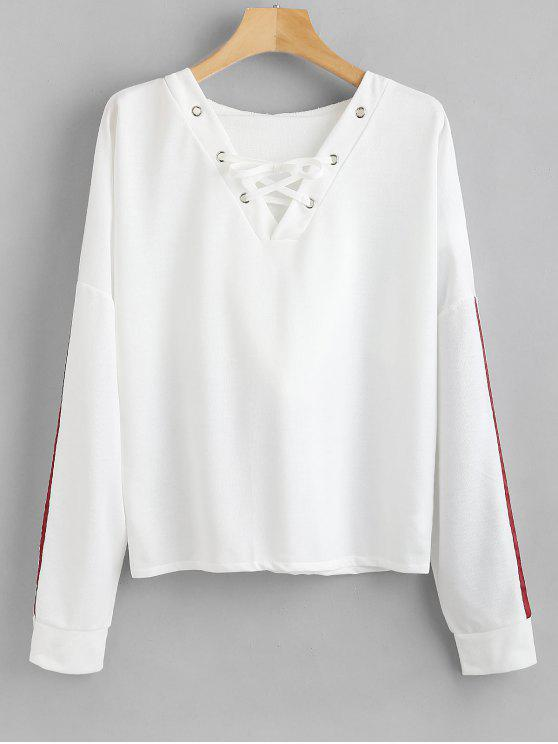 women Lace Up Drop Shoulder Hoodie - WHITE L