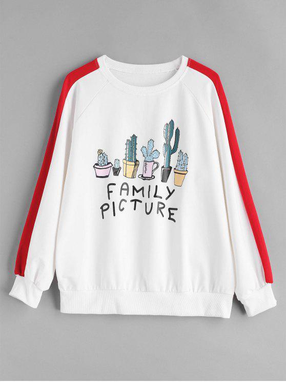 Familienbild-Kaktus-Grafik-Sweatshirt - Weiß Eine Größe