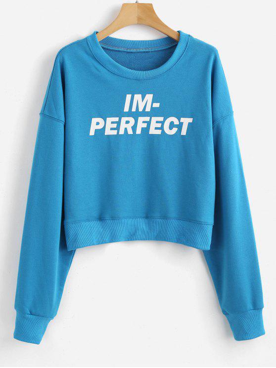 Buchstabe Drop Schulter Crop Sweatshirt - Blauer Efeu XL