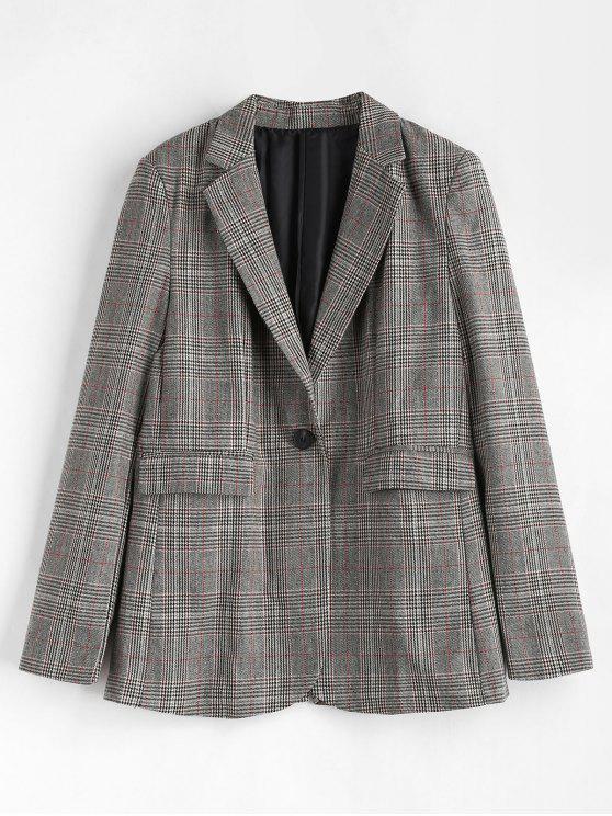 shop Plaid Flap Pockets Blazer - MULTI M