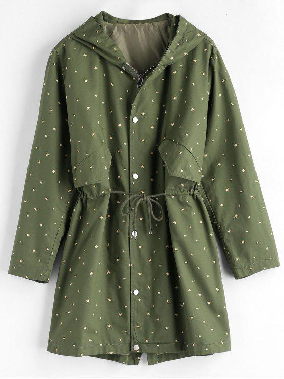 chic Star Hooded Longline Coat - MEDIUM SEA GREEN ONE SIZE