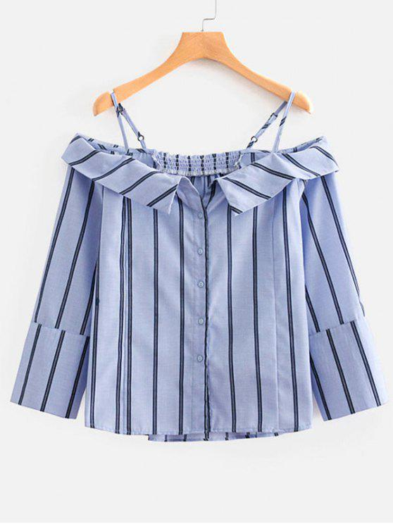 28b1cc7979 61% OFF] 2019 Striped Cami Button Up Blouse In DAY SKY BLUE   ZAFUL