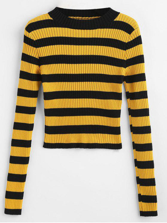 408dd65fdd1 30% OFF  2019 Mock Neck Striped Sweater In BRIGHT YELLOW