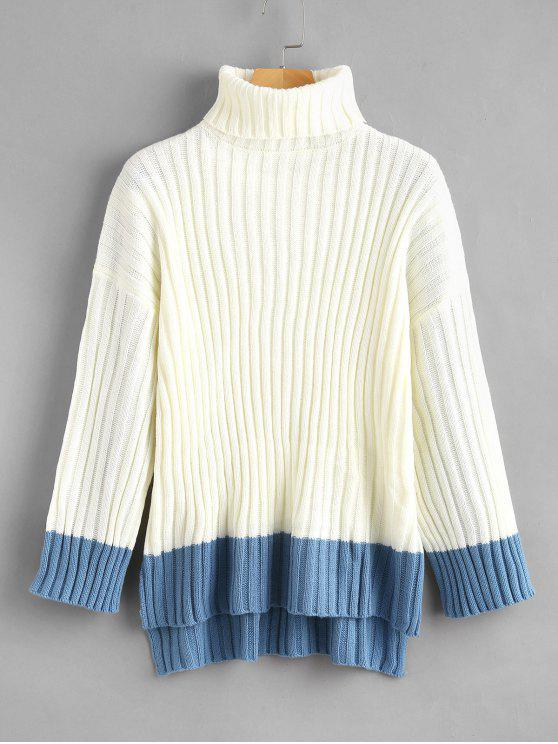 hot Color Block High Low Turtleneck Sweater - WHITE ONE SIZE