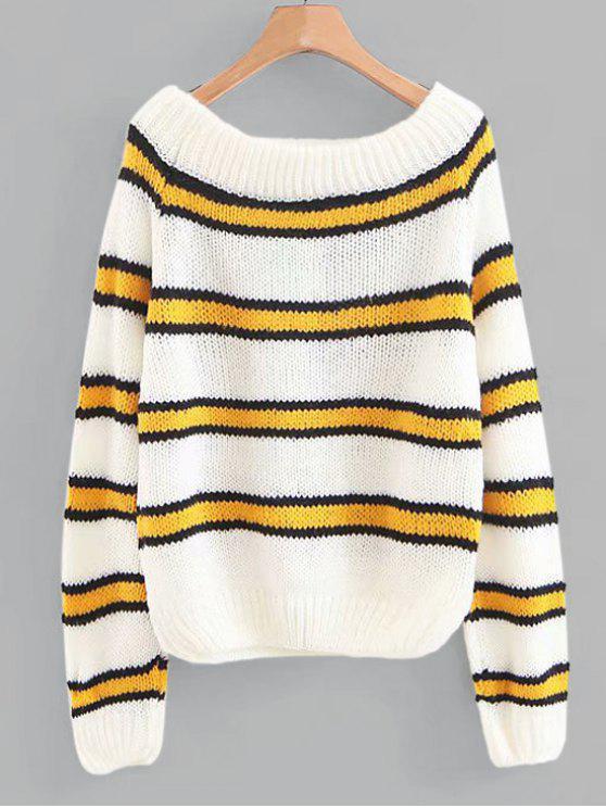 Raglanärmel Chunky Gestreifter Pullover - Multi Eine Größe