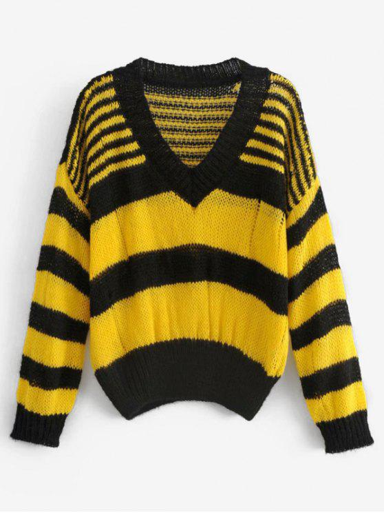 shop Striped Two Tone Pullover Sweater - MULTI ONE SIZE