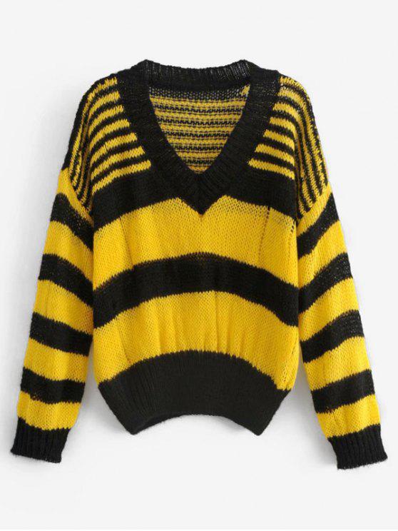 Gestreifter Pullover mit zweifarbigem Sweater - Multi Eine Größe