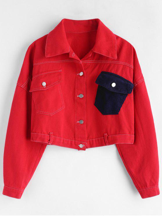 Drop Schulter Pocket Crop Jacke - Rot Eine Größe