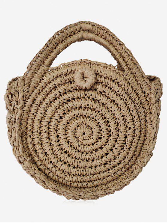 Runde Umhängetasche aus geflochtenem Stroh - Kaffee