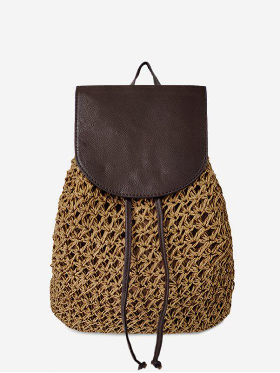 outfit Braided Straw Beach String Backpack - BROWN