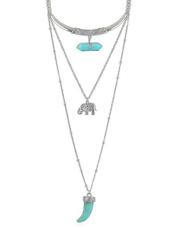 Künstliche Edelstein-Elefant-Schicht-Kettenhalskette - Celeste