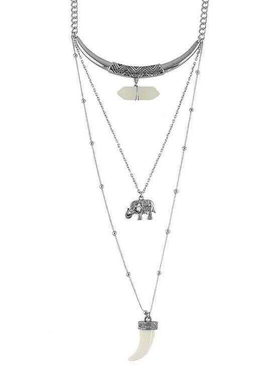 Künstliche Edelstein-Elefant-Schicht-Kettenhalskette - Silber