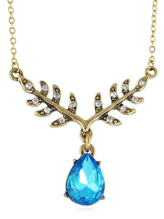 Wassertropfenförmige künstliche Kristallkette Halskette - Blaues Kleid