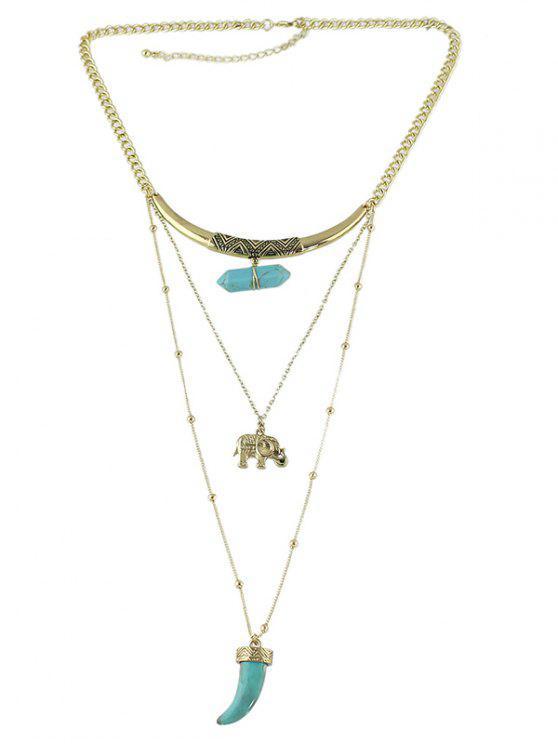 Künstliche Edelstein-Elefant-Schicht-Kettenhalskette - Gold