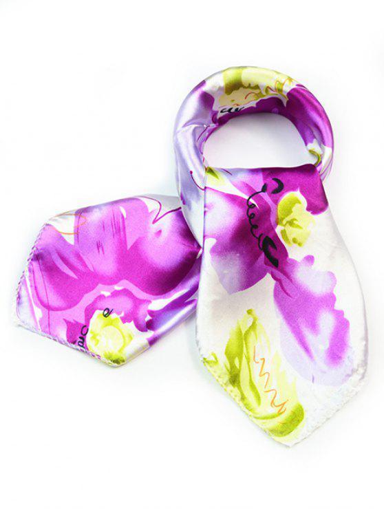 chic Flourishing Floral Silky Handkerchief - PURPLE